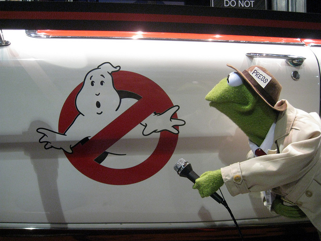 And they don't all look like Kermit's. By the way, I honestly don't know why everyone's favorite Muppet reporter is interviewing the side of the Ghostbusters truck. So don't ask.
